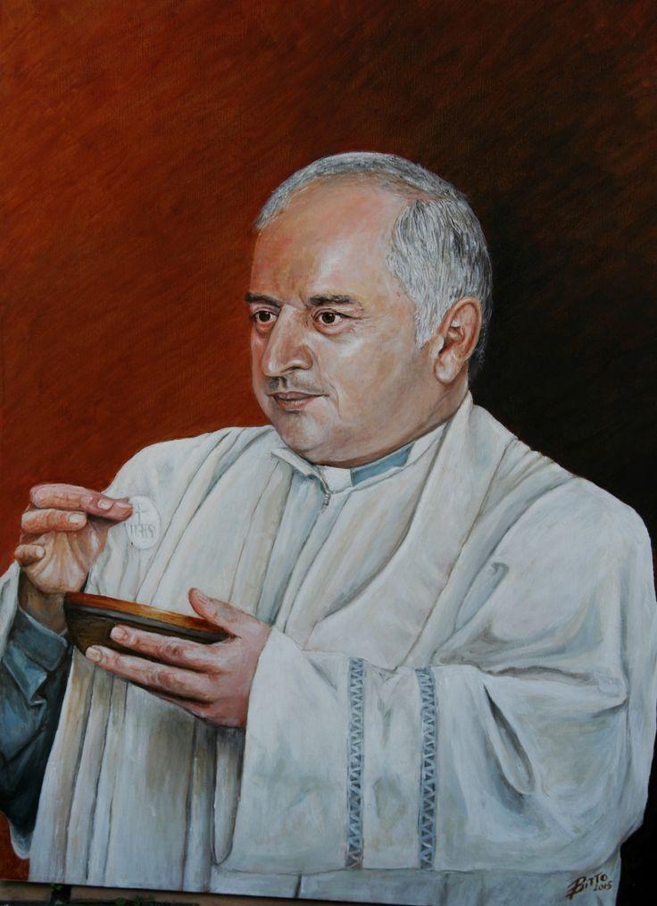 padre Nunzio Olio su tela 50x70