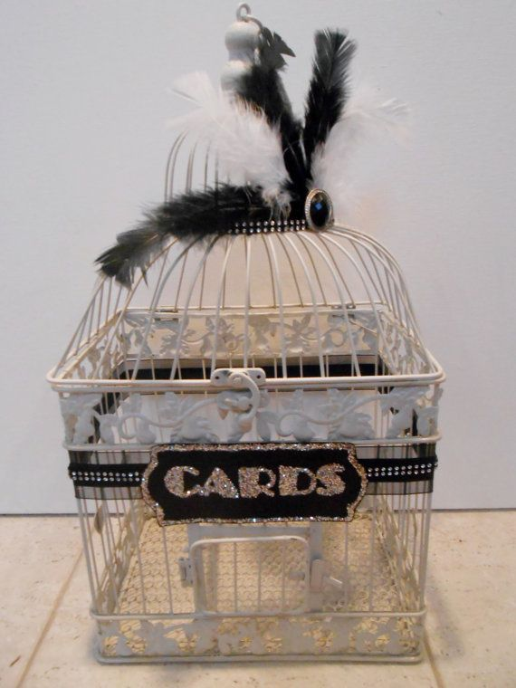 Large Wedding Birdcage Card Holder / Wedding Card Box / Great Gatsby Inspired / Vintage 1920's Style / Art Deco / Glam Wedding on Etsy, $80.00