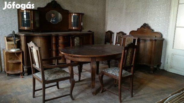 Eladó Antik étkező garnitúra (ónémet, neobarokk): Az étkező garnitúra tartalma: 1 db nagy tálaló szekrény, 1 db kicsi tálaló szekrény, 1 db vitrines szekrény, 1 db ovális étkező asztal, 6 db szék, 2 db karos szék