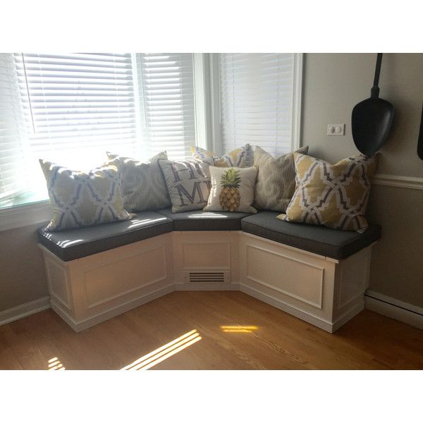 Banquette Corner Bench Seat With Storage ($1,550) ❤ liked on Polyvore featuring home, furniture, benches, dining room furniture, grey, home & living, kitchen & dining tables, dining storage bench, storage furniture and grey furniture