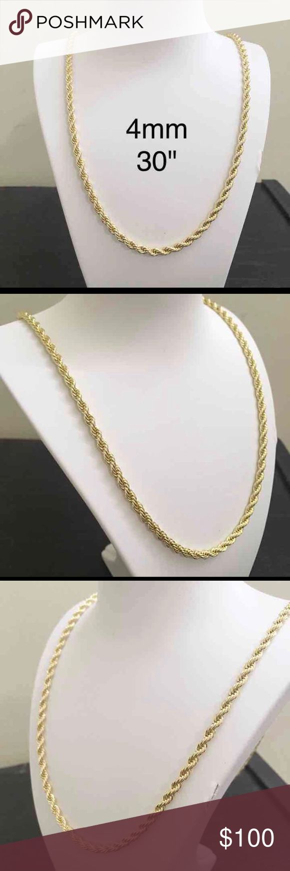 """14K Gold Rope Chain 4mm 30"""" • Gold Filled  • Rope Chain • 4mm Thick • 30 Inch Length • 14k Stamped • Made In Italy  • Nice & Heavy • Hip Hop Chain • Lobster Lock • Brand New • Chain Color Will Never Fade  Why Gold Filled? Unlike Gold Plating Which Over Time Wears Off Gold Filled Will Never Fade In Shine. It's Also Great For Sensation Skin. Don't Miss Out On This Chain. Accessories Jewelry"""