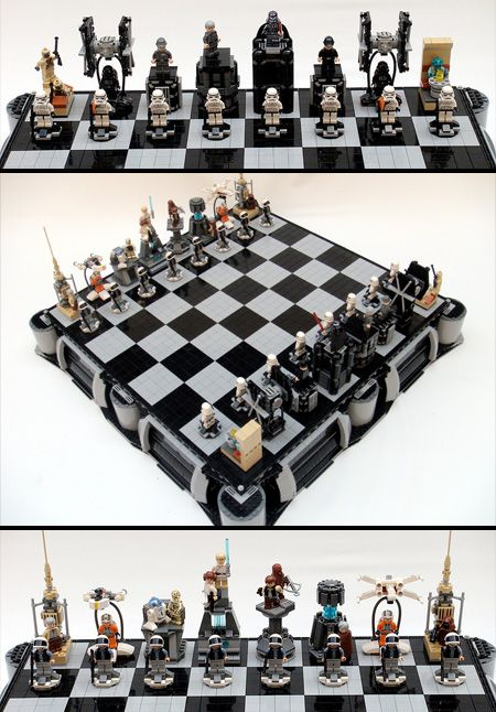 LEGO Star Wars Chess Set        Star Wars: A New Hope LEGO chess set made by Brandon Griffith.