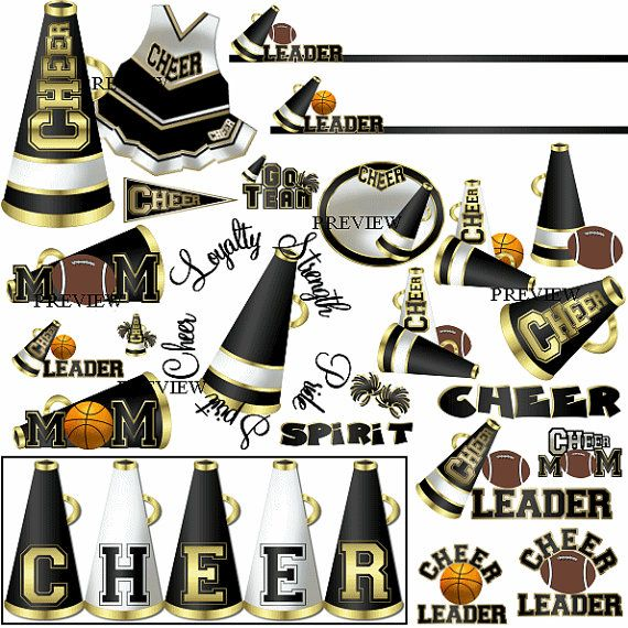 Cheer Black and Gold by JRettGraphics. Cheerleader graphics to match your school colors. Megaphone, basketball cheer, football cheer, cheer moms, cheer coach, cheer uniform, cheer wordart, pom poms, frames, borders and more. Visit www.jrett.com for many more school colors!