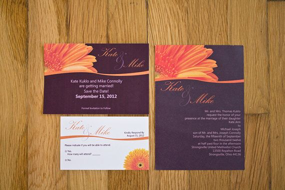 Purple and orange daisy wedding invitations