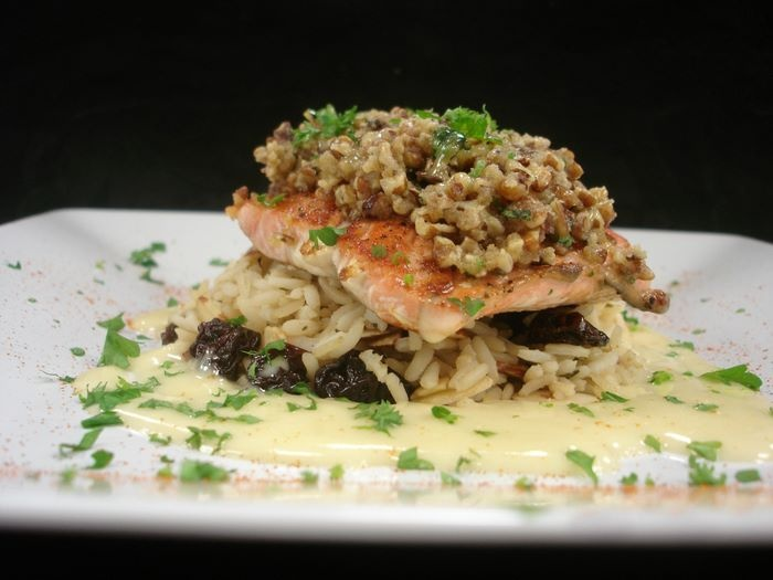 Pecan Crusted Salmon in a Hazelnut Sauce over Saffron Risotto (this is ...