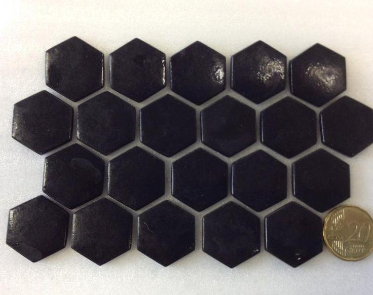 mosa que p te de verre hexagone noir plaque achat de. Black Bedroom Furniture Sets. Home Design Ideas