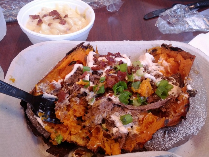 """Barbacoa Beef Sweet Potatoes!  I first saw this on an episode of Diners, Drive-ins, and Dives on Food Network focusing on BBQ.  This recipe was inspired by """"The Hot Mess"""" at the Pecan Lodge in Dallas, Tx."""