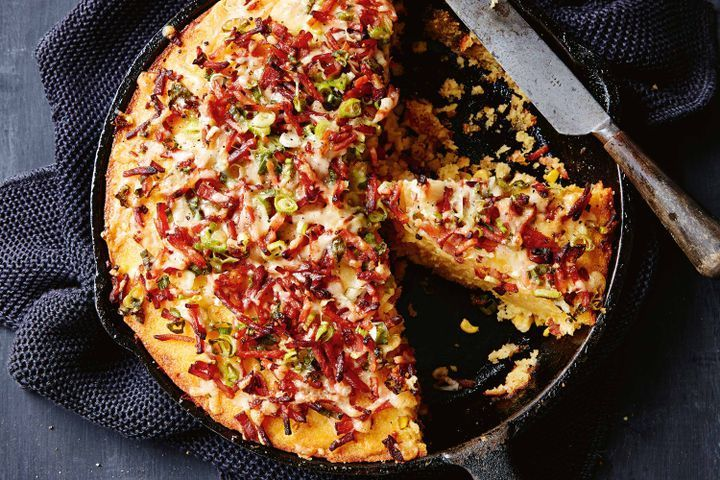 Bacon and cheese skillet cornbread