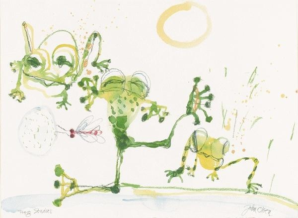 Beautiful Frog Painting by Australian artist John Olsen.