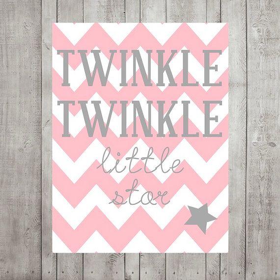 Nursery Wall Decor- Kids Wall Prints- Twinkle Twinkle Little Star- Pink Gray Nursery Decor- Chevron- Choose Your Colors 8x10 Print