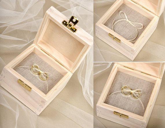 Wood Wedding Ring Bearer Box Rustic Wooden by forlovepolkadots