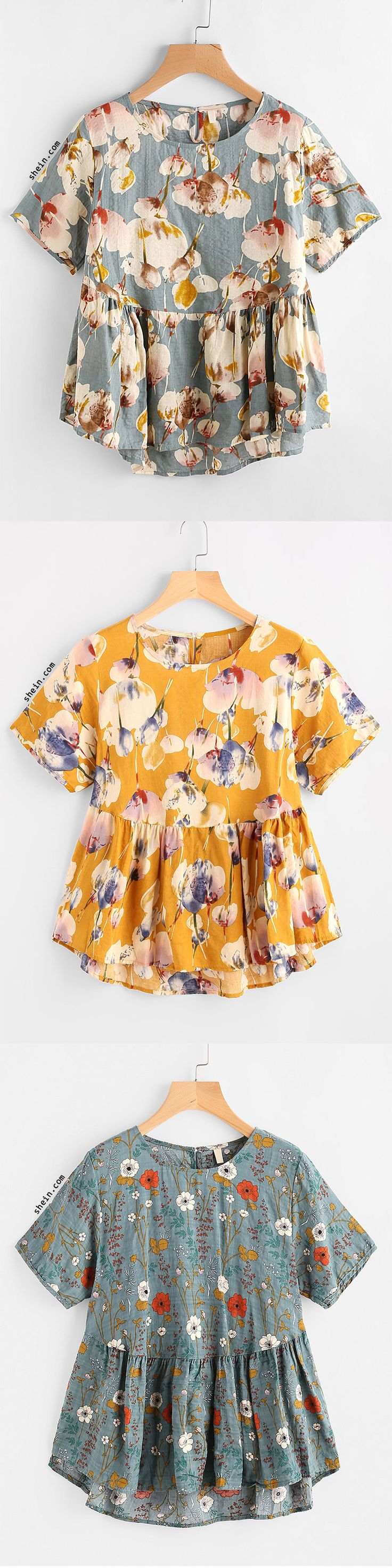 Allover Flower Print Smock Blouse