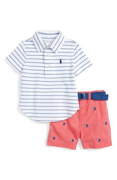 Ralph Lauren Stripe Polo & Shorts Set (Baby Boys)