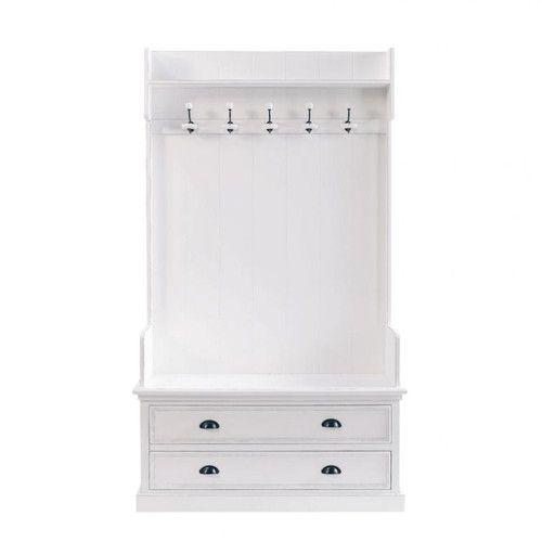 Mueble de entrada con 5perchas de madera en blanco An. 110cm