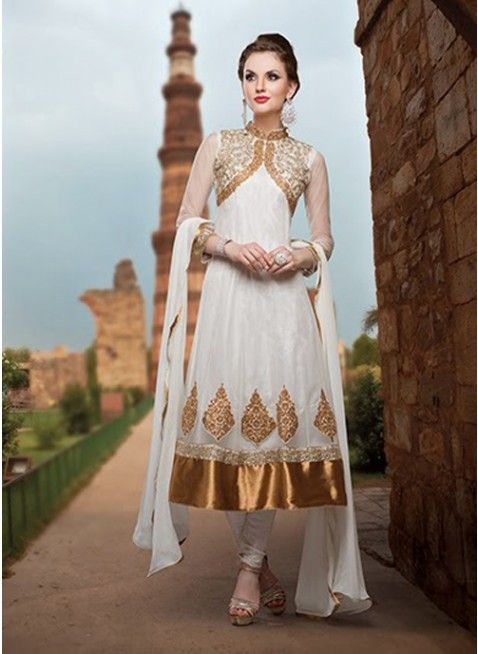 Splendid offwhite with gold embroidered #anarkali_suit