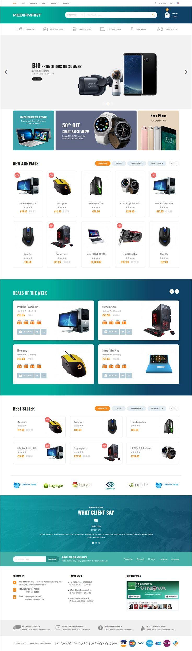 Mediamart is clean and modern design 6in1 responsive Prestashop theme for stunning online shop #eCommerce website download now #flat #web #design