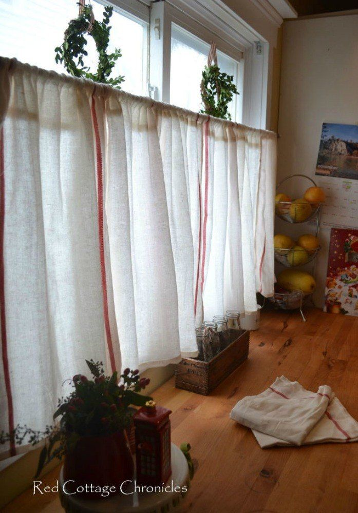 s 15 window curtain ideas for under 15, home decor, window treatments, Use tea towels as adorable cafe curtains