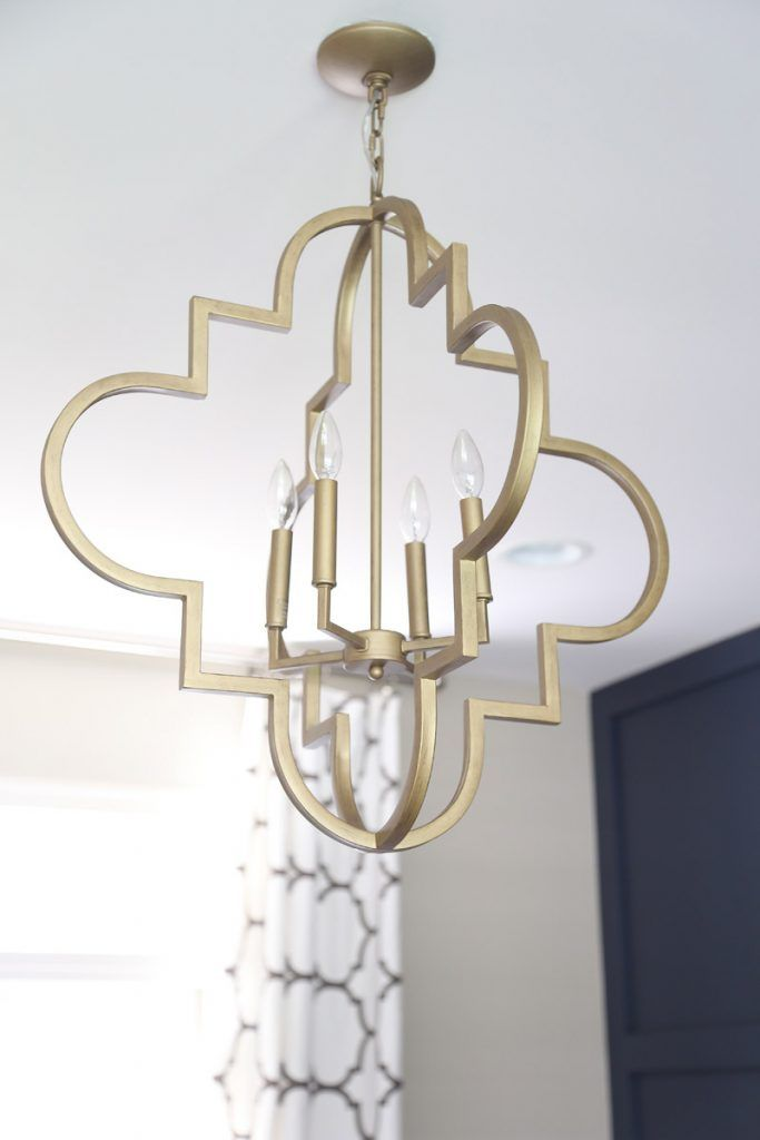 Brushed gold quatrefoil light fixture