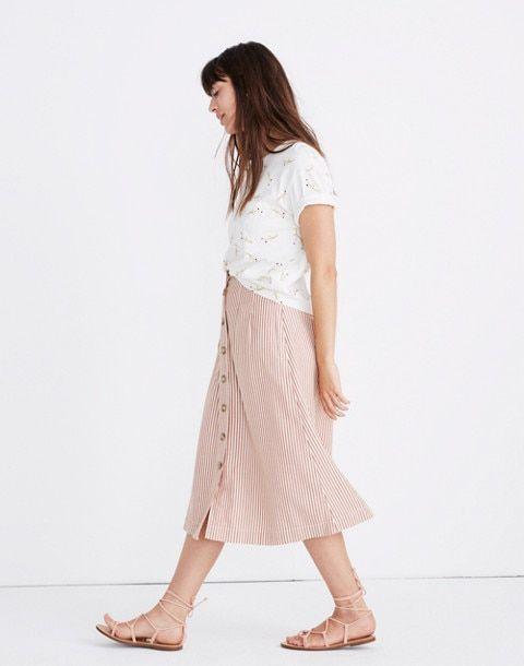 9a4eb592e62 Patio Button-Front Midi Skirt in Clay Stripe in alby stripe burnt clay  image 1