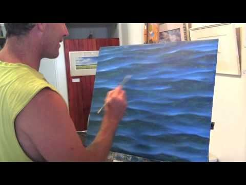 I'm going to try this...How To Paint Water - Sparkles and Light | Over The Shoulder with Mark Wa...