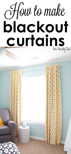 Keep your room nice and dark by making your own blackout curtains. Two Twenty One shares an easy-to-follow tutorial on how to sew these DIY curtains using a blackout liner. Perfect for a nursery or bedroom.