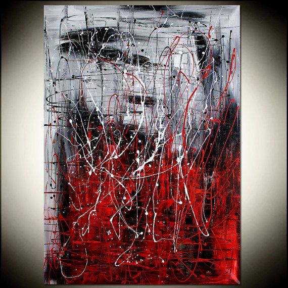 RED BLACK painting abstract art Large artwork Modern Textured Palette knife drip Oversize canvas large artwork size 51 x 32