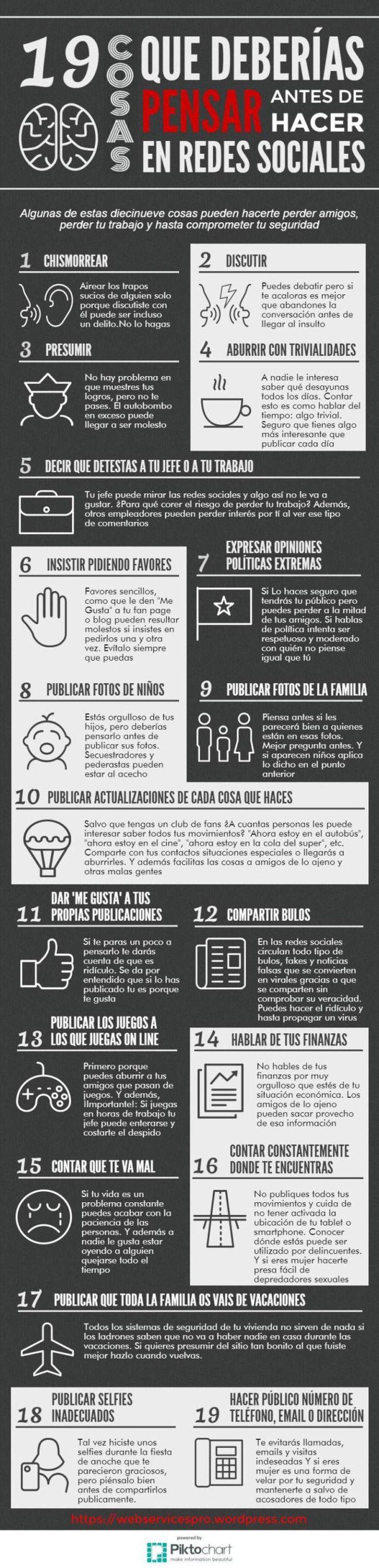 Cosas que no debes hacer en las Redes Sociales - Infografía