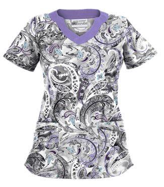 UA Charming Swirls Granite Print Scrub Top Style # UA194CHS  #uniformadvantage #uascrubs #adayinscrubs #scrubs #scrubtop #printscrubs