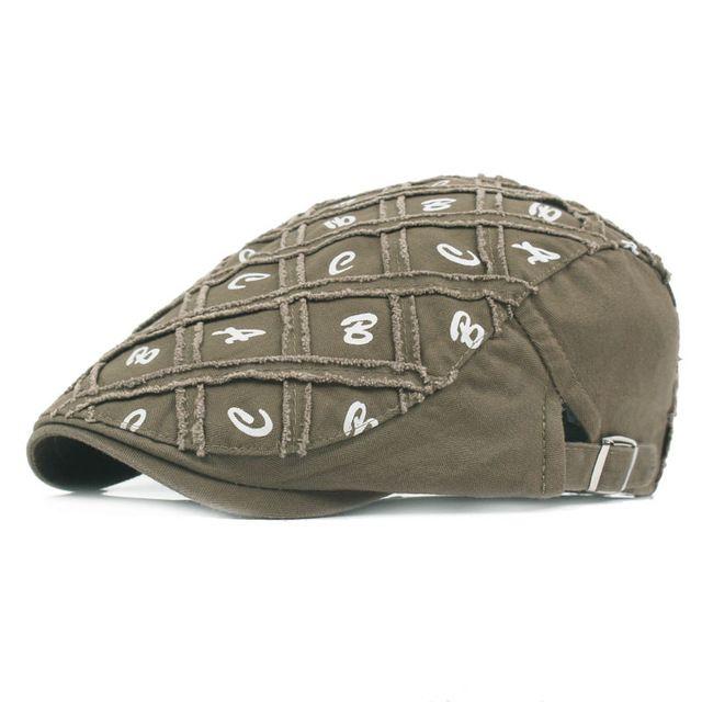 Fasbys Vintage Bone Cotton Berets Caps for Men Casual Peaked Caps ABC Letters Berets Hats Casquette Cap Plaid Flat Cap Newsboy