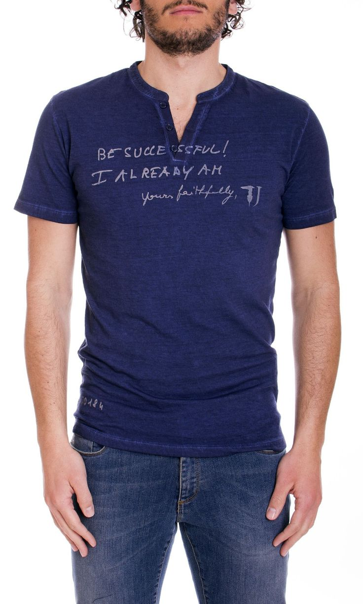Trussardi Jeans | T-Shirt Trussardi Jeans Uomo Serafino Regular Fit Col. Blu - Shop Online su Dursoboutique.com 52T147