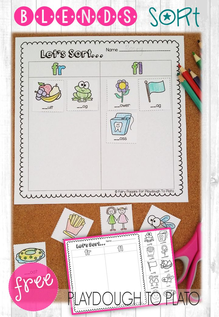 10 FREE Blend Sorts working on the most popular blends like CL-, SK- and FR-. These are perfect for kindergarten or first grade guided reading, literacy centers or word work. Fun blends activities for kids!