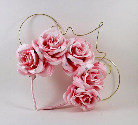 Sleeping beauty ears, aurora mouse ears, princess mouse ears, pink mouse ears, floral mouse ears, floral disney ears, floral wire ears