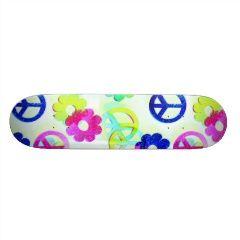 Groovy Hippie Peace Signs Flower Power Sparkle Pat Custom Skateboard   Skateboards for Girls