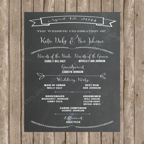Chalkboard Wedding Program Printable Sign Ceremony Diy