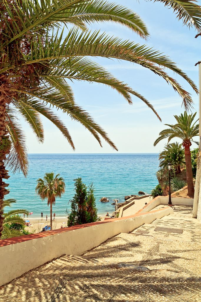 Pathway to the beach   Nerja, Andalusia, Spain