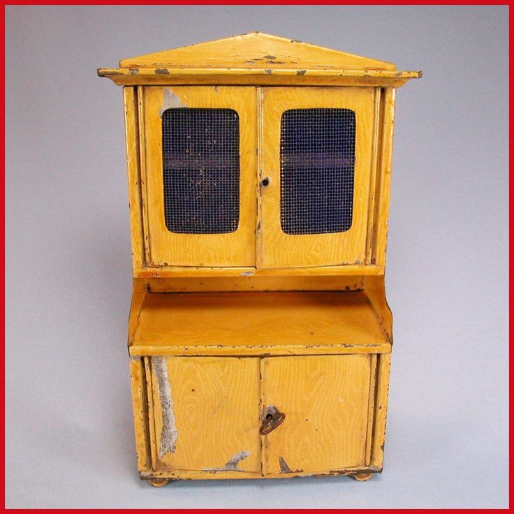 Antique Bing Dollhouse Kitchen Hutch with Faux Grain Painted Sheet from curleycreekantiques on Ruby Lane