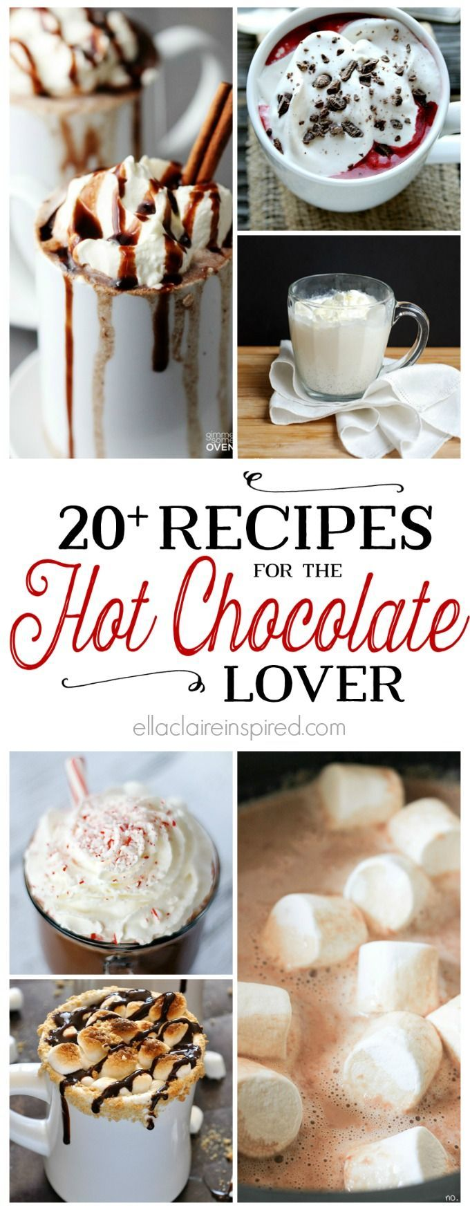 Nothing satisfies that winter sweet tooth like a warm cup of hot chocolate. These 20 decadent recipes will keep you cozy all winter long. Find them here at Ella Claire.