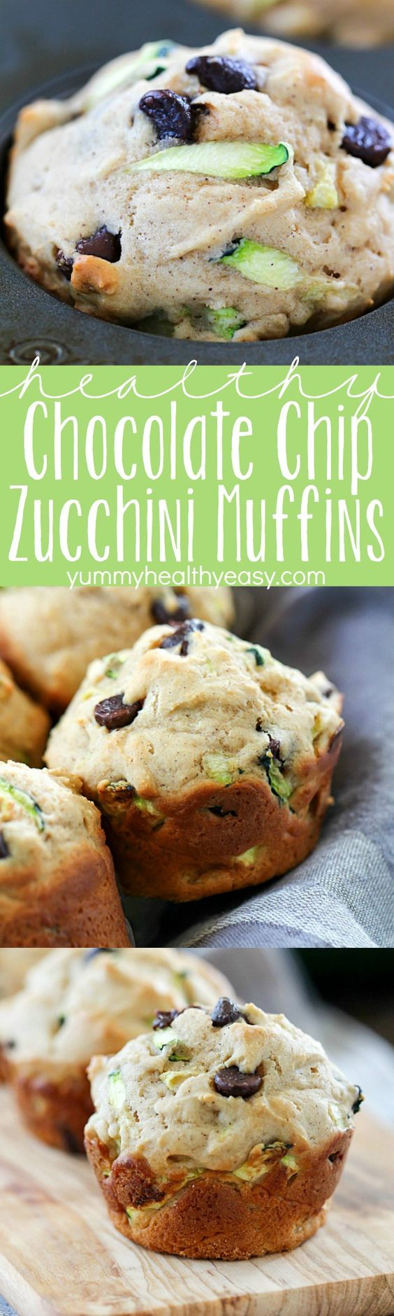 Chocolate Chip Zucchini Muffins ~ the best of both worlds...healthy AND decadent! They're full of tender zucchini and chocolate chips but are made healthier by using applesauce instead of lots of butter, perfect as a yummy breakfast or after-school snack!