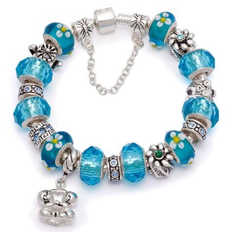 Bratara dama Blue Hot Murano Pandora Style