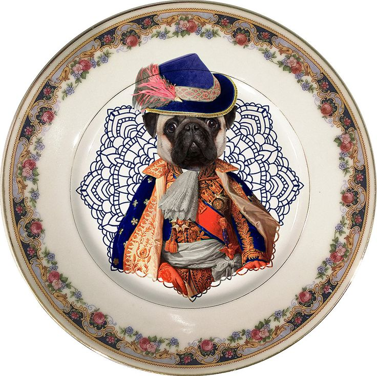 Lord Pug - Carlino - Vintage Porcelain Plate - #0390 by ArtefactoStore on Etsy