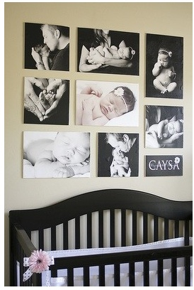 nursery with pictures: Nurseries Wall, Cute Ideas, Photos Collage, Photos Wall, Canvas, Baby Pictures, Baby Rooms, Nurseries Ideas, Baby Nurseries