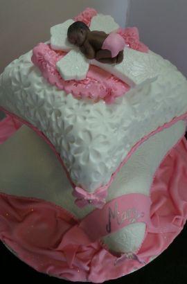 Pink baptism pillow cake