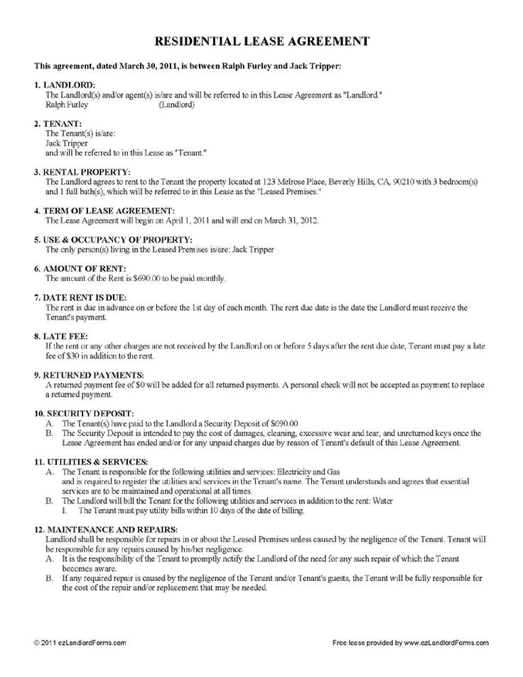 Free Residential Lease Agreement Word Doc Throughout Template
