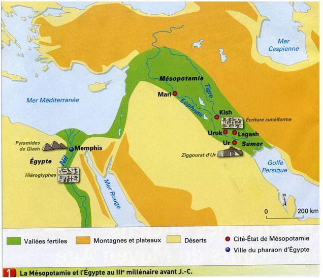 Carte de l`Orient ancien, Mésopotamie et Egypte, au IIIè millénaire avant JC, histoire, cours, Lastel,