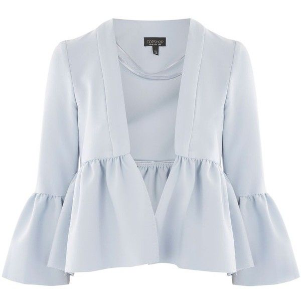 Topshop Crop Frill Detail Jacket (560 MAD) ❤ liked on Polyvore featuring outerwear, jackets, pale blue, structure jacket, evening wear jackets, open front jacket, cropped jacket and topshop jackets