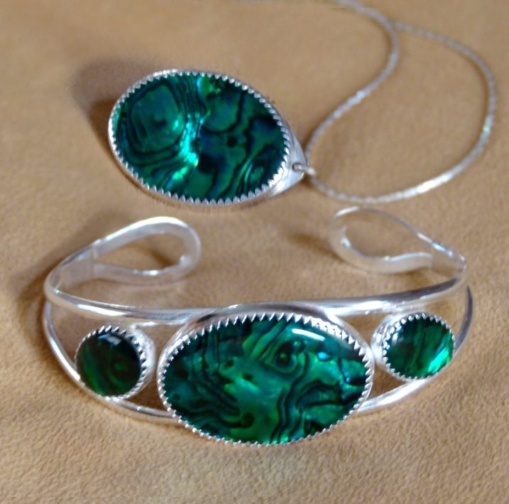 Custom made, one of a kind, turquoise, silver and abalone bracelet and pendant set. Hand crafted by Kathy Stewart - Glam N Glitter Eclectic Jewelry.