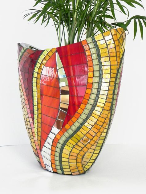 Mosaic Art Stained Glass Mosaic Vase on Ceramic by NewArtsonline