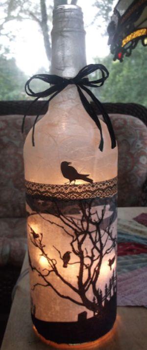 creepy graveyard wine bottle lamp