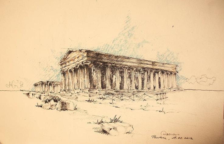 Templul lui Poseidon, Paestum, Desen liber | Ramona Costea