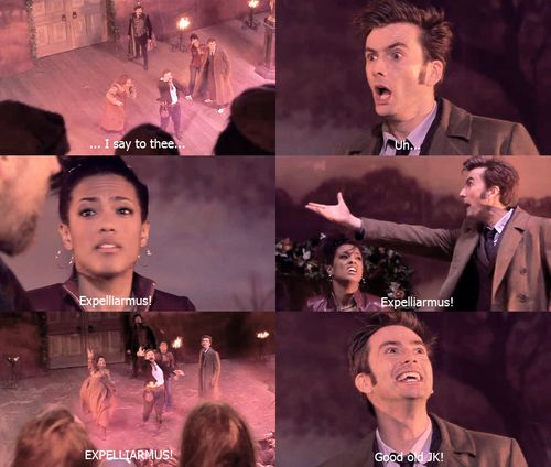 I love this episode and loved this scene.  Doctor Who meets Shakespeare (a quite charming Shakespeare by the way) and manages a little Harry Potter reference too.